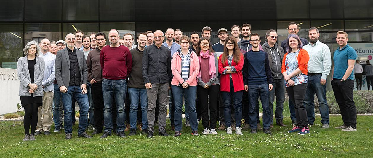 Teamphoto of members of the Institute of Creative\Media/Technologies (10.4.2019) (c)FH St. Pölten / Markus Seidl